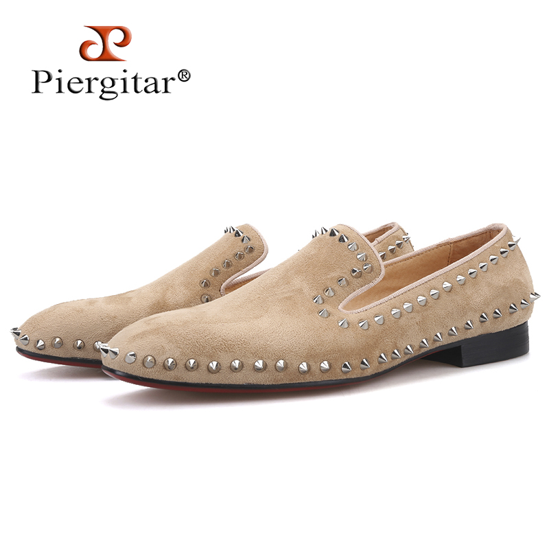 Piergitar 2019 Handmade Khaki colors men suede shoes with silver spikes Fashion brand men's loafers red bottom plus size(China)