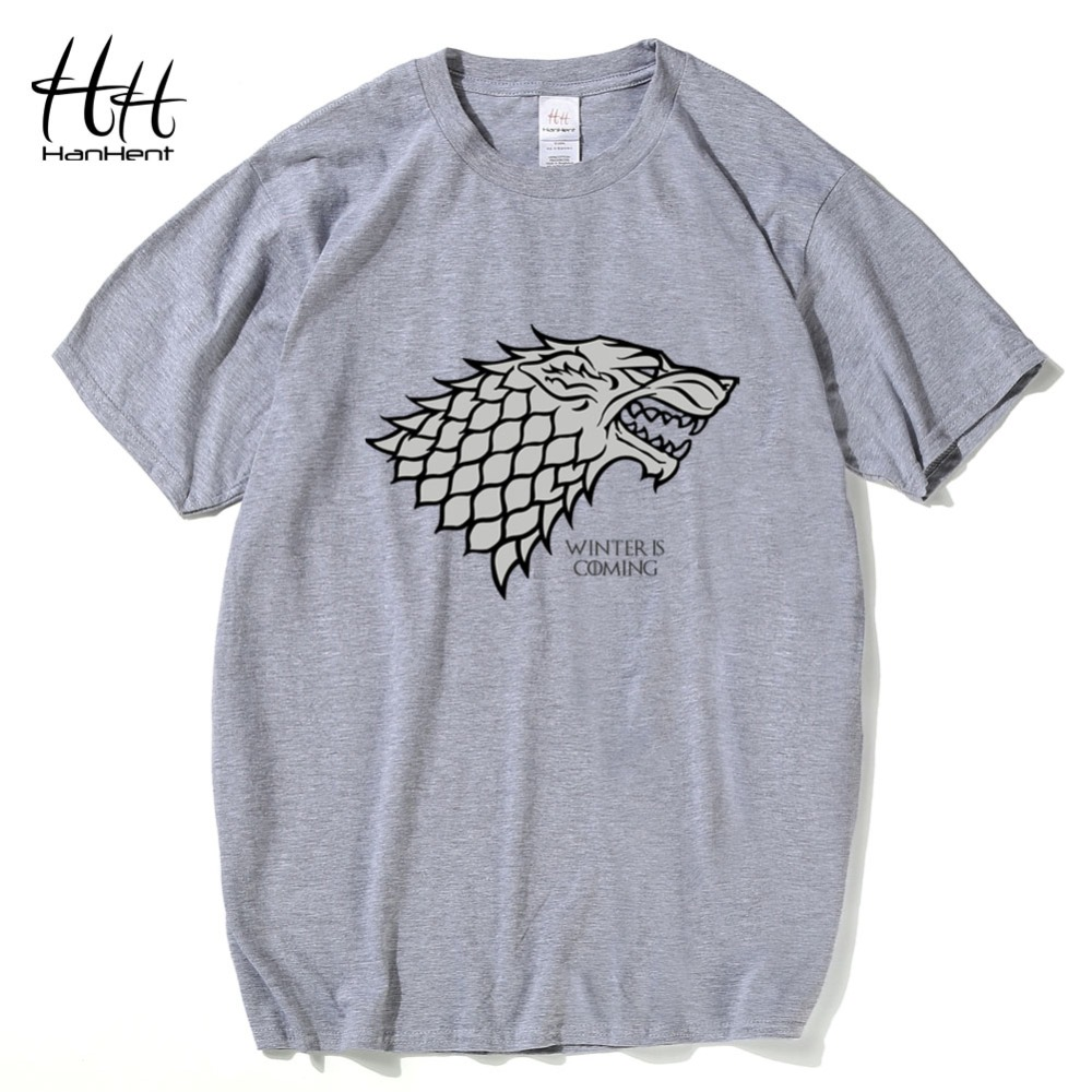 HanHent Game Of Thrones T-shirt heren DireWolf Zomer Katoenen Tops Tees Mannelijke Winter komt T-shirt Wolf shirt Mannen Hiphop