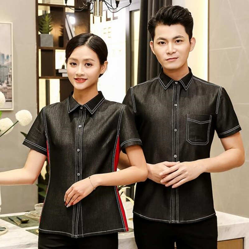Hotel Overalls Short-sleeved Summer Female Waitress Uniform Tea House Restaurant Hot Pot Shop Waiter Workwear Male Jacket H2228