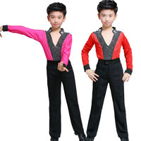 Men Latin Dance Costumes Kids Morden Shirt Lace Long Sleeve Shirts For Boys Latin Samba Dress Child Competition DancewearDQS1709