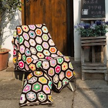 New Hand Crochet Hook Flower Color Crochet Blanket Yoga Mat Baby Knitting Blanket Throw Bed Sofa Carpet Air Conditioning Gift цена