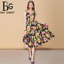 Baogarret New Fashion Runway Summer Dress Womens Spaghetti Strap V Neck Ruffles Floral Print Elegant Holiday Vintage