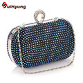 2016 New Fashion Women Diamond Clutch Bag Colored Rhinestone Ring Day Clutch Party Evening Bag Ladies Handbag Chain Shoulder Bag