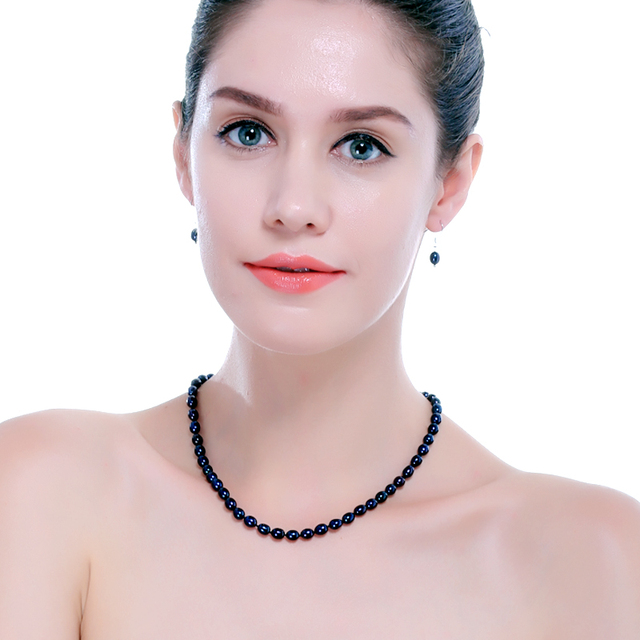 6-7mm Small Rice Pearl Jewelry Set of Necklace, Bracelet and Earrings