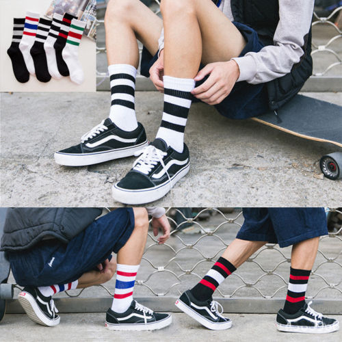 Hirigin 2017 Fashion Men Socks Men Crew Stripe Pattern Funny Hot Hip Hop Soft Cotton Skateboard Socks Cotton Warm Socks Hot Sell