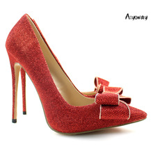 Aiyoway Elegant Women Ladies Bow Pointed Toe High Heel Glitter Pumps Wedding Party Dress Shoes Red light  US Size 5-15