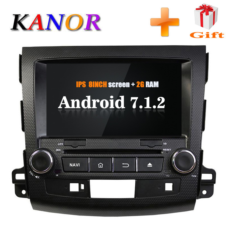 KANOR Android 7.1 RAM 2G IPS 2din Car Radio For Mitsubishi Outlander 2009 2010 2011 2012 With WIFI Autoraio SWC 2 din GPS Navi kanor android 7 1 ram 2g 2din car dvd radio for hyundai elantra 2016 multimedia player wffi swc map bt audio double din car gps