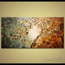 Tree Hand Painted palette knife 3D texture flower Hand Painted Canvas Oil Painting Wall Pictures For Living Room 5