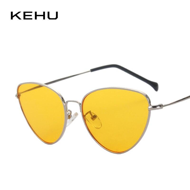 KEHU Mais Novo Mulheres Retro Olho de Gato Espelho Revestimento Steampunk Óculos Limpar Lens K9102