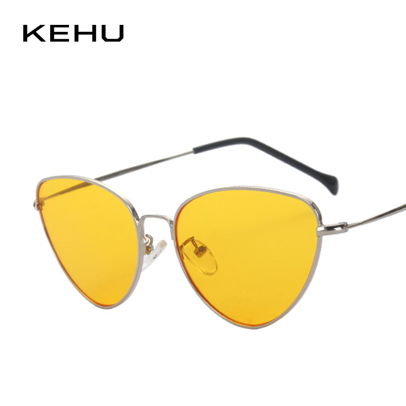 KEHU Newest Women Retro Cat Eye Coating Mirror Steampunk Eyewear Clear Lens K9102