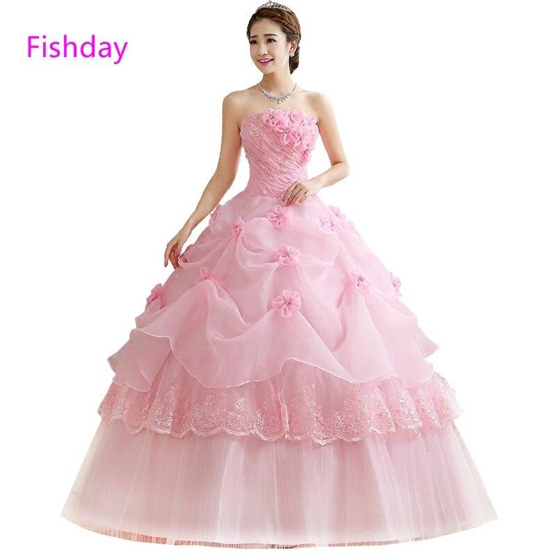 e910d8554 Grande hermosa Rosa Princesa Larga Elegante Simple Dulce vestido de Bola 15 vestido  Barato Vestido de Quinceañera Vestidos 2017 para 15 Años Venta B20 free ...