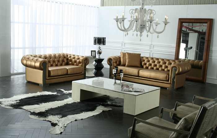 2015 New Arrival Genuine Leather Chesterfield Sofa European Style Modern Set Living Room Sofas Sofa Set Living Room Furniture in Living Room Sofas from Furniture