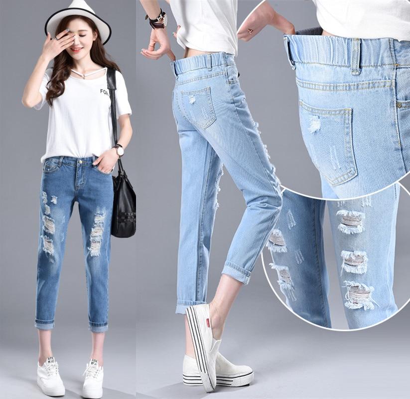2018 Stretch Elastic High Waist Sexy Broken Torn Ripped Jeans Fashion Woman Denim Pants Women's Trousers Femme Cheap Wholesale