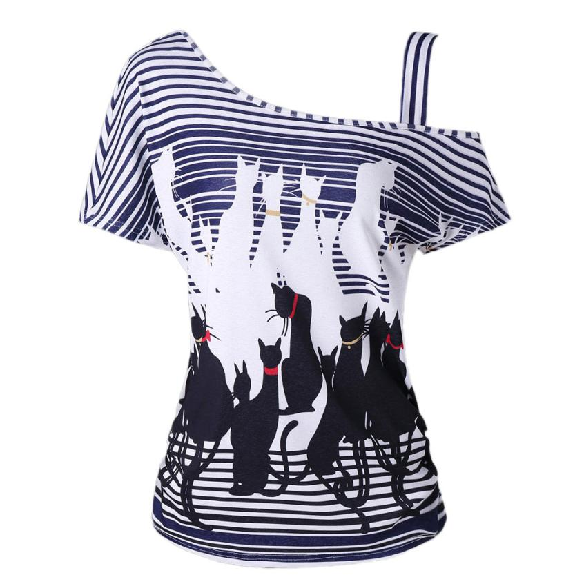 Fashion off Shoulder Cat Print Casual Striped Blouse shirt Falling Casaul Tee For Women Shirt