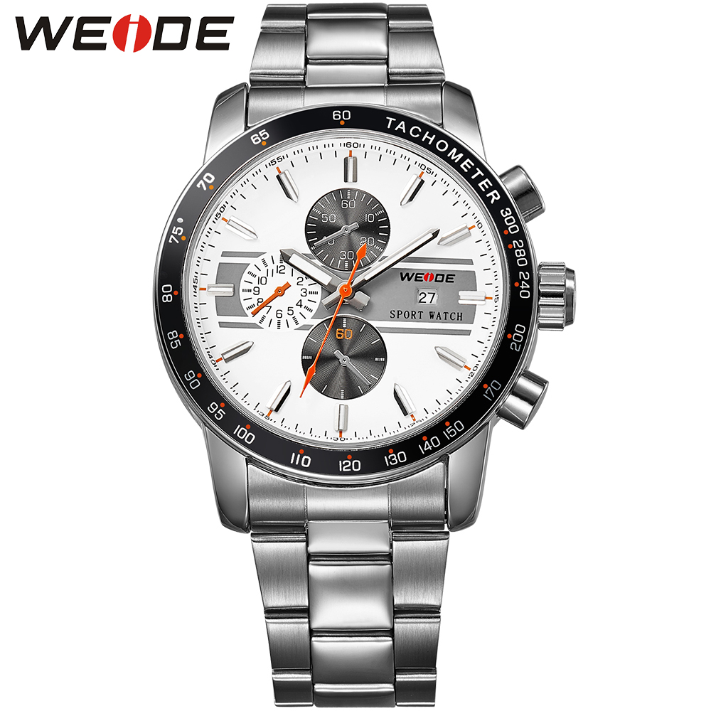 ФОТО WEIDE Brand Luxury Men Dress Watch Water Resistance White Dial Japan Movement Stainless Steel Quartz Wrist Watches For Male