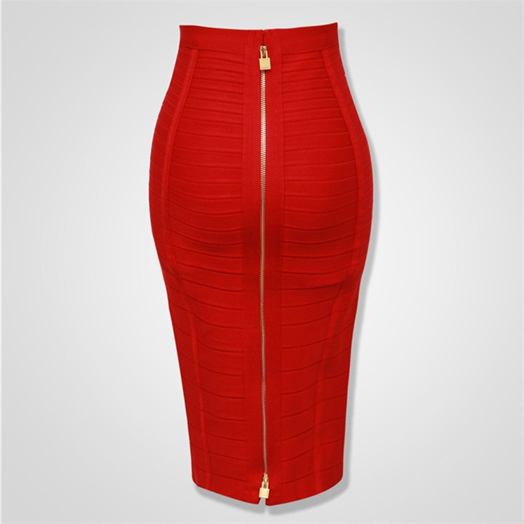 12 Colors Sexy Solid Zipper Orange Blue Black Bandage Skirt Women Elastic Bodycon Summer Plus Size XL XXL Pencil Skirts 58cm