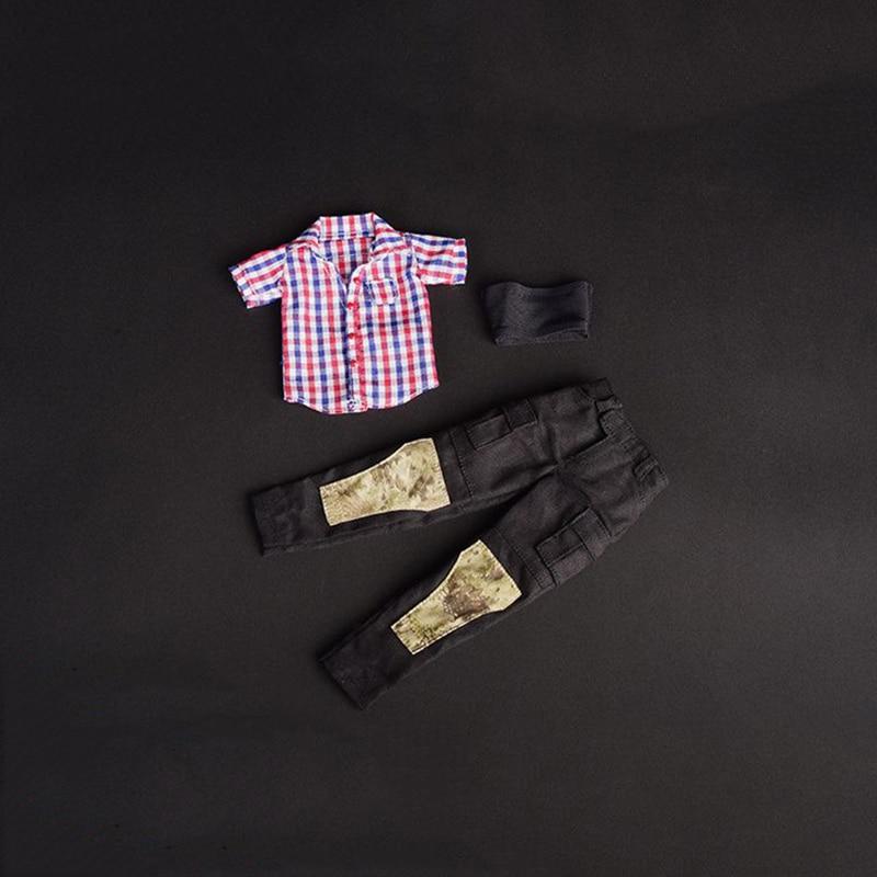 1/6 Весы Для женщин Рубашки в клетку черные брюки и без бретелек Короткие топы для 12 фигурки доступа