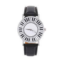 Casual Watches For Women Men Unisex Hour Fresh Piano Keyboard Pattern Wristwatch Leather Buckle Students Quartz