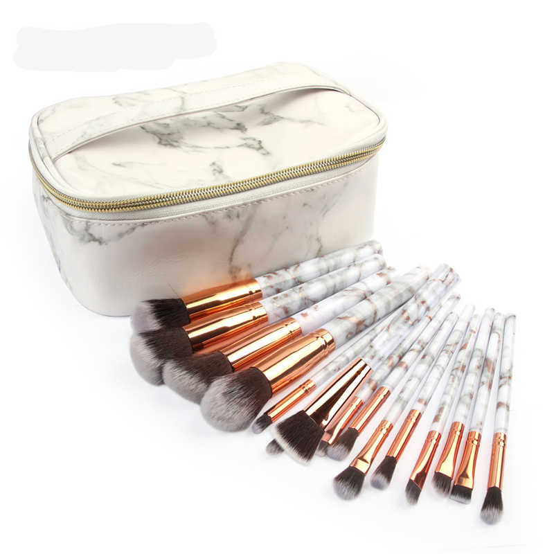 MAANGE 15Pcs Multifunctional Marbled road Makeup Brush Concealer Eyeshadow Brush Set Brush Makeup Tool + Travel Cosmetic Bag G23