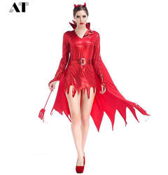 Женский костюм красного чертика костюм для взрослых женщин на Хеллоуин Косплей демона вечерние маскарадные костюмы для женщин
