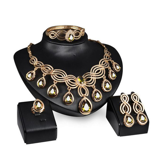 CZ Gota de Água Hipoalergênico Colar Brincos Pulseiras Anéis de Cobre beads africanos conjuntos de jóias para As Mulheres casamento festa S0237