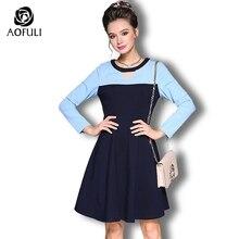 AOFULI Damen farbe schwarz patchwork kleider 2017 Herbst Winter Großen  größe langarm kleid mode-marken-kleidung M-4XL 5XL 6226 7269baf750