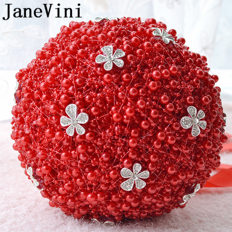 Купить с кэшбэком JaneVini Sparkly Rhinestone Wedding Bouquet De Mariage White Rose Wedding Flowers for Bride Bridesmaid Red Bouquet Accessories