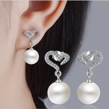 Everoyal Luxury Crystal Heart Drop Earrings For Women Jewelry Fashion Silver 925 Girls Pearl Accessories Lady Bijou