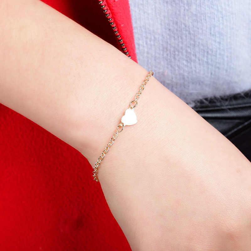 Простой сексуальный серебряный браслет в форме сердца для мужчин и женщин, 2018 Pulsera Hombre