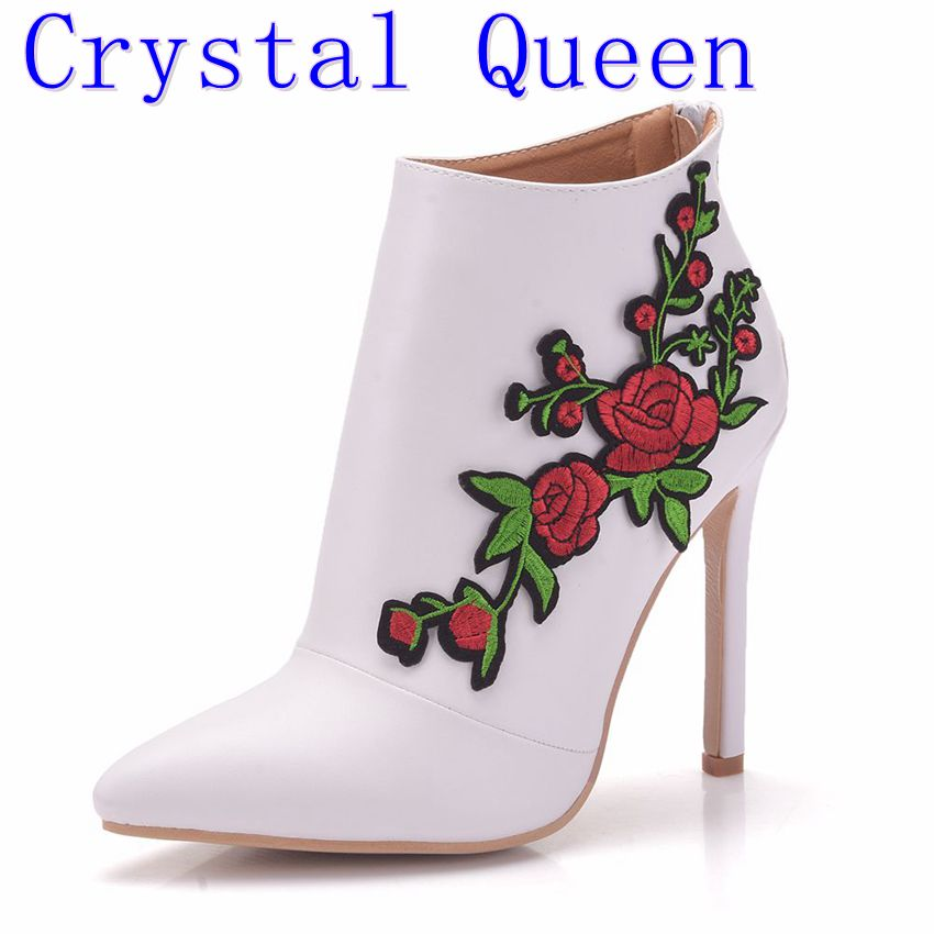 Crystal Queen Boots Women Sexy High Heel Boots Lace Flower Ankle Boots Bow Platform Shoes Zip Lace Up Ladies Footwear top brand unique design black suede boots back front lace up fastening dress boots trendy ladies footwear thin high heel shoes