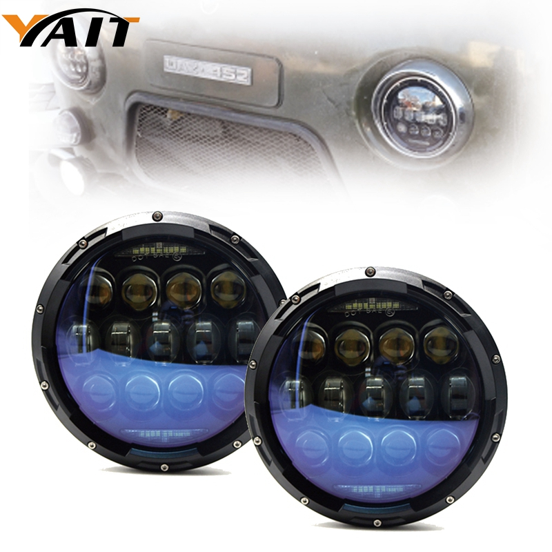 YAIT 7 high power 130w/105W LED Headlight For jeep Wrangler 7Inch LED Headlamps For lada niva 4x4 For Land Rover UAZ Hunter