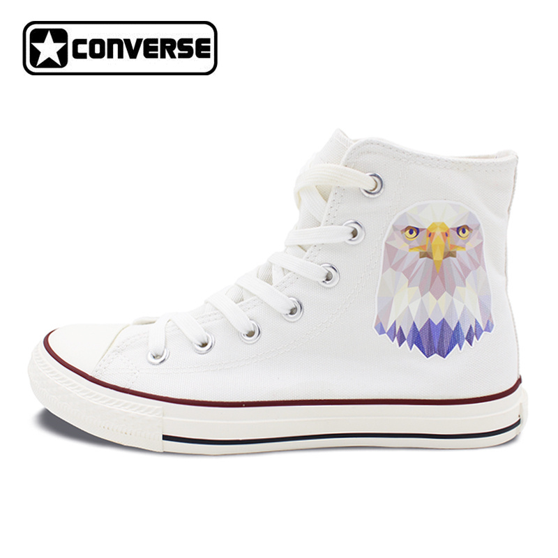 New Canvas Sneakers Converse Bald Eagle High Top White All Star Shoes Men Women Unique Christmas Gifts men women s converse all star shoes high top lace up flats design five food recipes on white canvas sneakers gifts