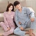 Pijamas Pijamas Par de invierno de las mujeres cuello de la camisa de manga larga de algodón, además de fertilizantes XL cardigan hombres trajes caseros