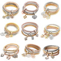 AMGJ New 3pcs/set Multilayer Bracelets Starfish/Love Charm Bracelets for Women/Girls Valentine's Day Gifts Retail Wholesale
