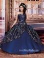 Impressionante Azul Marinho Vestidos Quinceanera 2016 vestido de Cetim vestido de Baile Querida Puffy Doce 16 Vestido Quinceanera Vestidos Bordados de Ouro