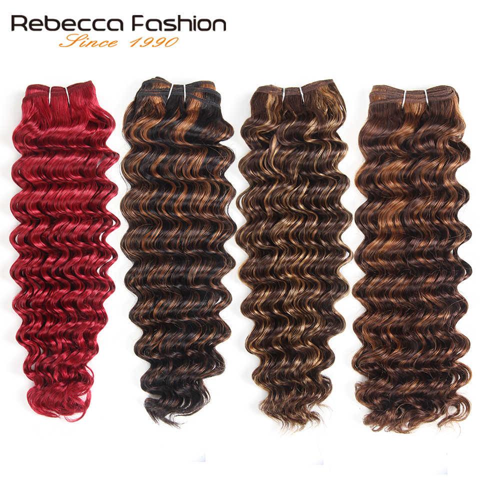 Rebecca 113G Remy Rambut Manusia Gelombang Dalam Brasil Rambut Menenun Ombre Hitam Coklat Merah Warna Rambut Ekstensi