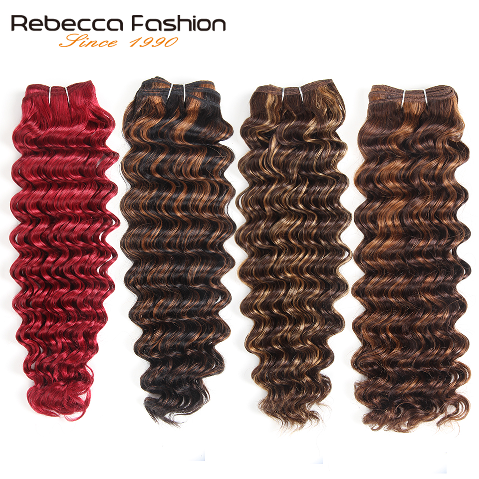 Rebecca 113g Remy Human Hair Deep Wave Brazilian Hair Weave Bundles Ombre Black Brown Red Colors Hair Extensions