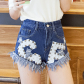 2016 Fashion Rivet Shorts Women Jeans Plus Size Denim Short Jeans Cintura Alta Summer Style Boyfriend Ripped Tassel Jeans Shorts