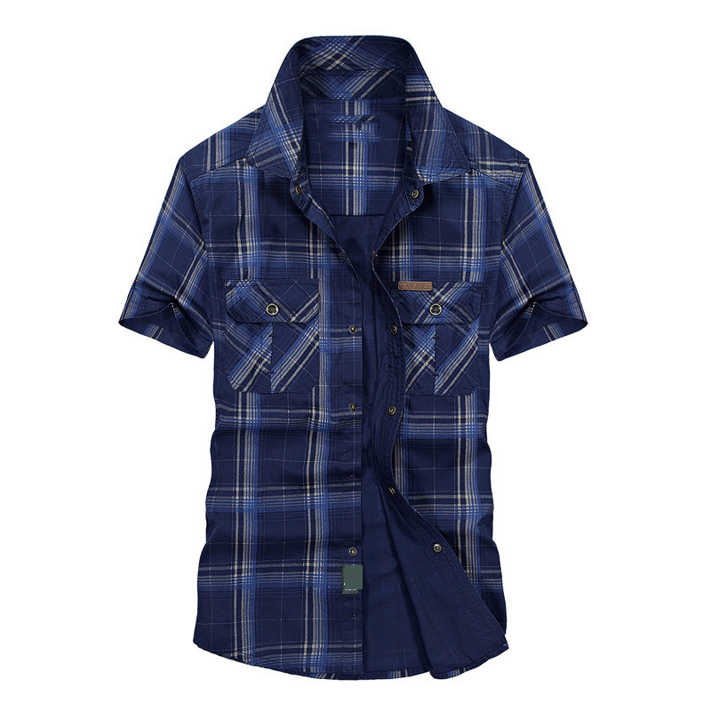 Clearance AFS JEEP Summer Shirt Men Casual Shirts Plaid Cotton Loose Men Shirts Military Shirt Men Plus Size M-5XL Chemise Homme