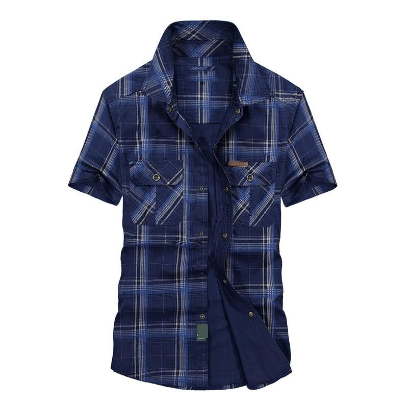 Clearance AFS JEEP Summer Shirt Men Casual Shirts Plaid Cotton Loose Men Shirts Military Shirt Men Plus Size M-5XL Chemise Homme