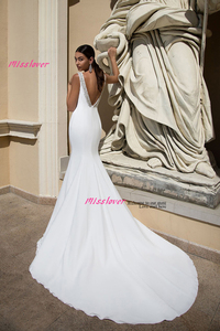 Image 3 - Simlple Soft Satin Mermaid Bride Wedding Dress 2019 new Robe de mariee sexy backless Bridal Gown vestidos de noiva