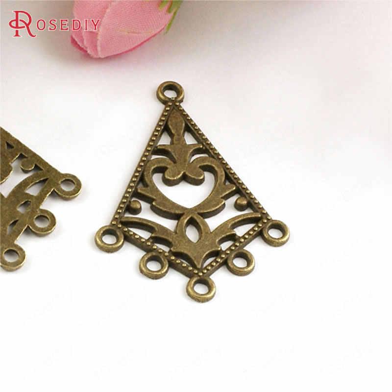 (30074) 30 Pcs 38X28 Mm Antik Perunggu Zinc Alloy Panjang Prismatic Anting-Anting Konektor Pesona Perhiasan Temuan Grosir Aksesoris