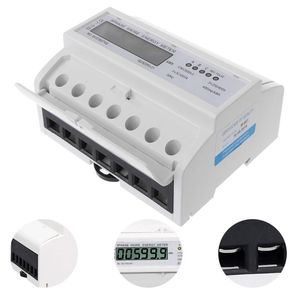 Wattmeter 3 Phase 4 Wire Electric LCD Display Digital Energy Meter Calibrated For DIN Rail Power Meters 50/60HZ(China)