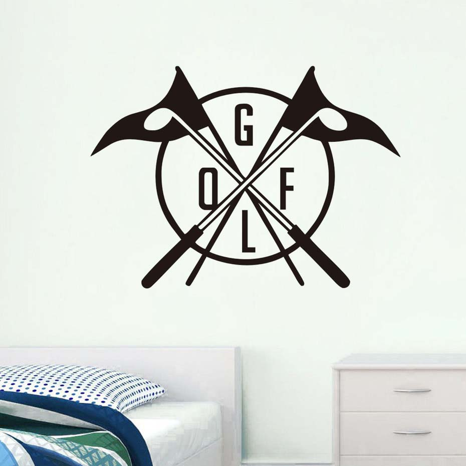 Cerative Golf Club Logo Pattern Wall Decals Vinyl Stickers Golf Sports Game Wall Sticker Home Decor Bedroom Decorative Vinyl