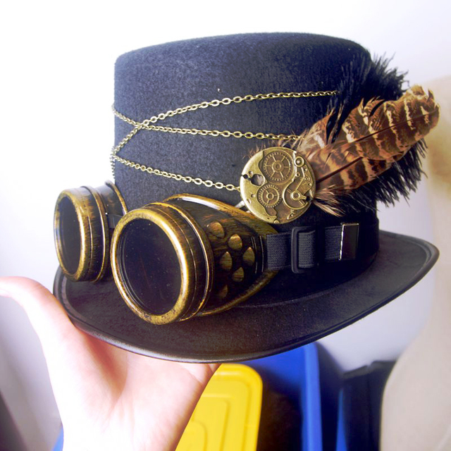 Gothic Vintage Steam Punk Hat Gear Goggles Chain Glasses Top Hat Punk Unisex Party Black Fedora Hats Handmade Retro Cosplay Acce 1