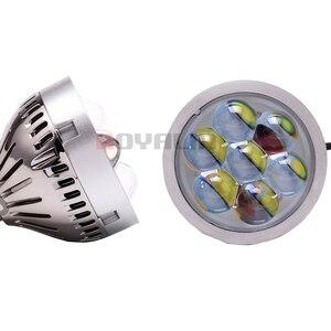 Image 2 - Royalin carro led farol alto lente do projetor com diabo olhos luzes da motocicleta para h1 h4 h7 9005 lâmpadas retrofit diy