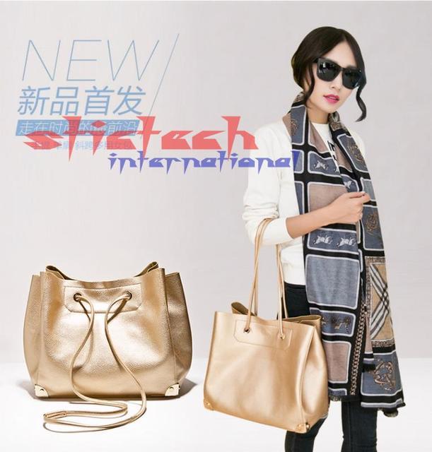 by dhl or ems  10pcs PU Leather Handbag Metal Color Shoulder Tote Bag Golden Silver Composite Litchi pattern Bags for Ladies
