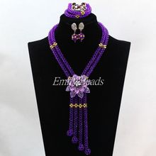 2016 Elegant Women Crystal Bridal Necklace Set Purple African Nigerian Wedding Beads Long Jewelry Set Free