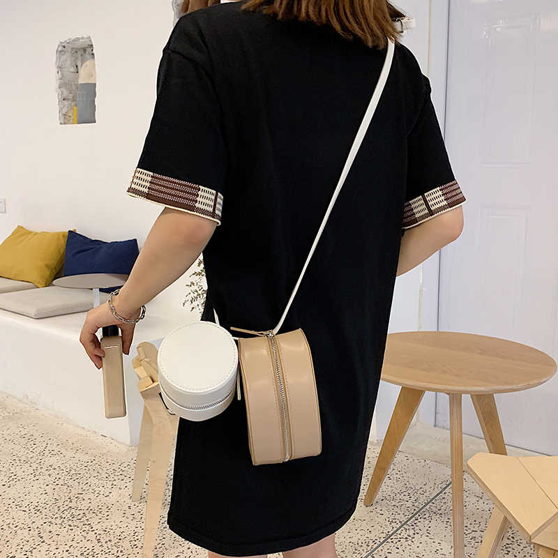 شخصية هندسية جولة نمط بو الجلود أزياء عارضة شابة فتاة نمط حقيبة كتف حمل Crossbody البسيطة حقيبة الإناث الحقيبة
