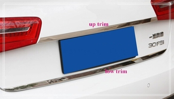 Free shipping! Higher star stainless steel 2pcs rear trunk trim/streamer(rear trunk up trim+ low trim) for Audi A6L 2013-2015